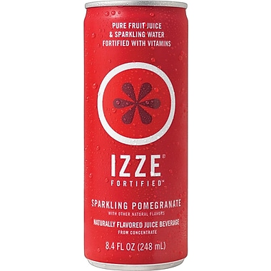 Izze Pomegranate Sparkling Juice, 8.4 oz., 24 Cans/Case