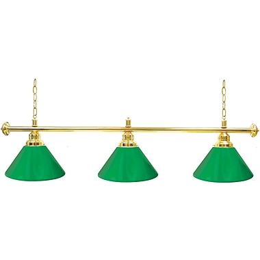 Trademark Global Premium 3 Shade Billiard Lamp, Green and Gold