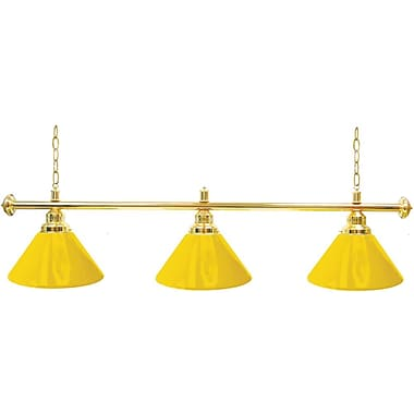 Trademark Global Premium 3 Shade Billiard Lamp, Yellow and Gold