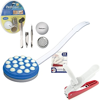 Trademark Global Foot File System, Lighted Nail Clipper and Lotion Applicator, 1in. x 4 1/8in. x 2 1/4in.