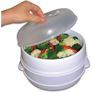 Trademark Global 2 Tier Microwave Steamer Food Cooker, 3 3/4