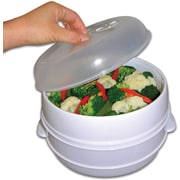 "Trademark Global 2 Tier Microwave Steamer Food Cooker, 3 3/4"" H x 9 1/2"" dia"