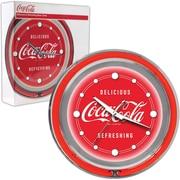 """Coca-Cola Neon Clock, 14 1/2"""" L x 14 1/2"""" W x 3"""" H"""
