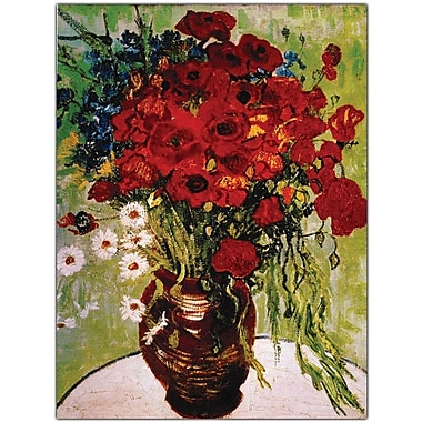 Trademark Global Vincent Van Gogh in.Daisie & Poppiesin. Canvas Art, 24in. x 32in.
