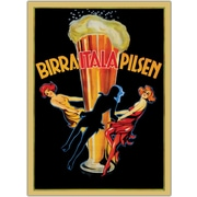 "Trademark Global ""Birra Itala Pilsen"" Framed Canvas Art, 35"" x 47"""