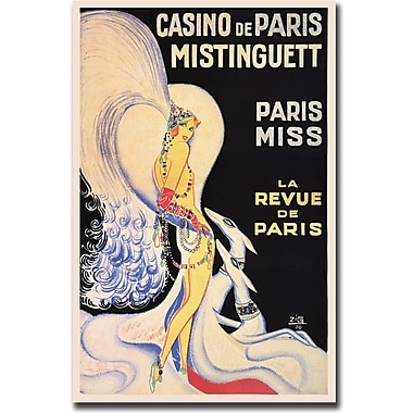Trademark Global in.Casino de Paris Mistinguettin. Framed Canvas, 18in. x 24in.