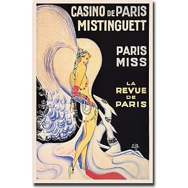 Trademark Global in.Casino de Paris Mistinguettin. Framed Canvas, 18in. x 24in.