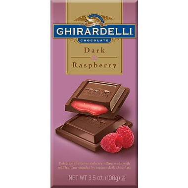 Ghirardelli Chocolate Bars, Dark & Raspberry, 3.5 oz., 12 Bars/Box