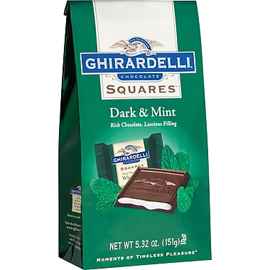 Ghirardelli Chocolate Squares Bags, Dark & Mint, 5.32 oz., 12 Bags/Box
