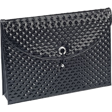 Textured Document Wallet, Diamond Pattern, Expanding, Black