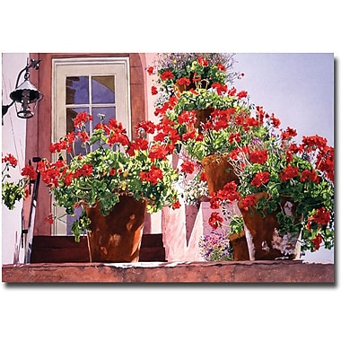 Trademark Global David Lloyd Glover in.Geraniums on the Stairsin. Canvas Art, 16in. x 24in.