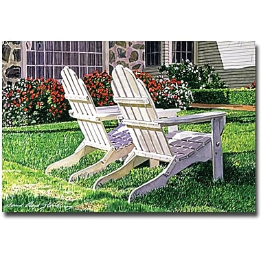 Trademark Global David Lloyd Glover in.White Chairs on Carmelinain. Canvas Art, 16in. x 24in.