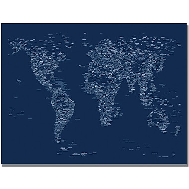 Trademark Global Michael Tompsett in.Font World Mapin. Canvas Art, 22in. x 32in.
