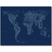 """Trademark Global Michael Tompsett """"Font World Map"""" Canvas Art, 18"""" x 24"""""""
