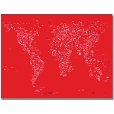 Trademark Global Michael Tompsett in.Font World Map IIin. Canvas Art, 30in. x 47in.