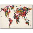 """Trademark Global Michael Tompsett """"Hearts World Map"""" Canvas Art, 18"""" x 24"""""""