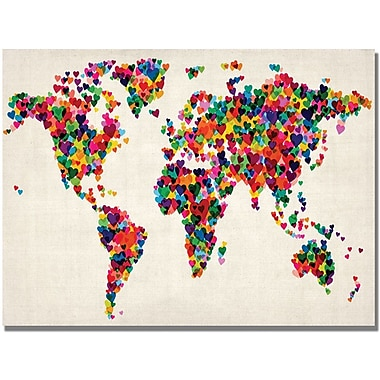 Trademark Global Michael Tompsett in.Hearts World Mapin. Canvas Art, 30in. x 47in.