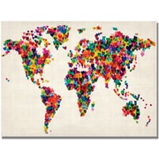 """Trademark Global Michael Tompsett """"Hearts World Map"""" Canvas Art, 22"""" x 32"""""""