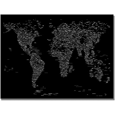 Trademark Global Michael Tompsett in.Font World Map IIIin. Canvas Art, 18in. x 24in.