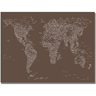 Trademark Global Michael Tompsett in.Font World Map IVin. Canvas Art, 30in. x 47in.