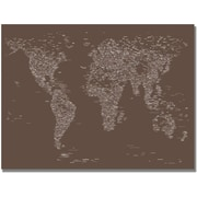 "Trademark Global Michael Tompsett ""Font World Map IV"" Canvas Art, 22"" x 32"""