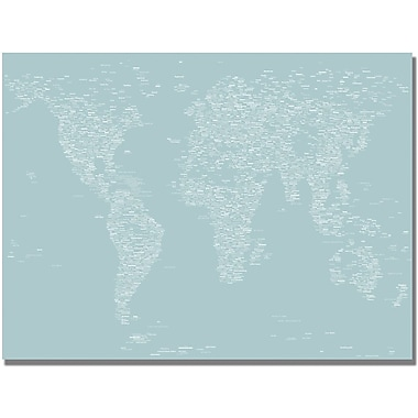 Trademark Global Michael Tompsett in.Font World Map Vin. Canvas Art, 30in. x 47in.