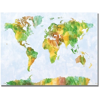 Trademark Global Michael Tompsett in.Watercolor World Map IIIin. Canvas Art, 30in. x 47in.