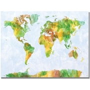 "Trademark Global Michael Tompsett ""Watercolor World Map III"" Canvas Arts"