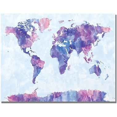 Trademark Global Michael Tompsett in.Watercolor World Map IVin. Canvas Art, 30in. x 47in.