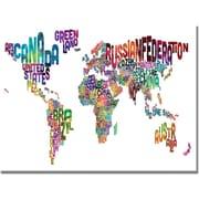 "Trademark Global Michael Tompsett ""Typography World Map III"" Canvas Art, 18"" x 24"""