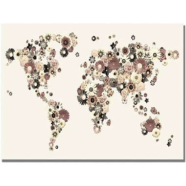 Trademark Global Michael Tompsett in.Flowers World Mapin. Canvas Art, 18in. x 24in.
