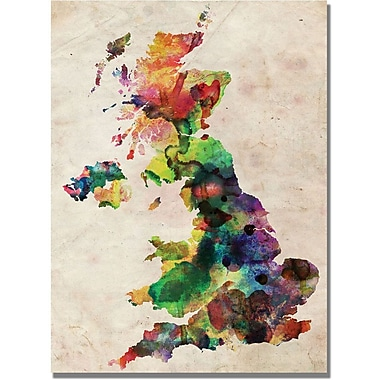 Trademark Global Michael Tompsett in.UK Watercolour Mapin. Canvas Art, 18in. x 24in.