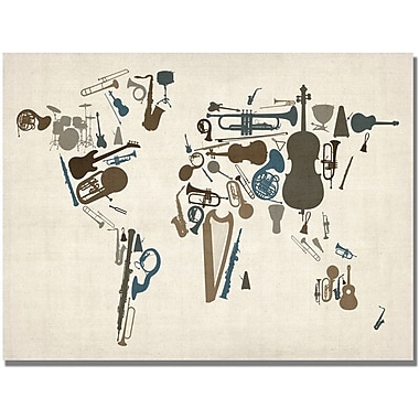 Trademark Global Michael Tompsett in.Instrument World Mapin. Canvas Art, 18in. x 24in.