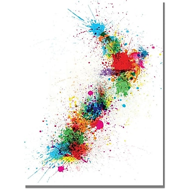 Trademark Global Michael Tompsett in.New Zealand Paint Splashes Mapin. Canvas Art, 18in. x 24in.