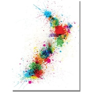 "Trademark Global Michael Tompsett ""New Zealand Paint Splashes Map"" Canvas Art, 18"" x 24"""