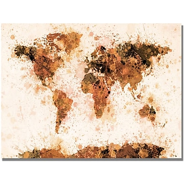 Trademark Global Michael Tompsett in.Bronze Paint Splash World Mapin. Canvas Art, 22in. x 32in.