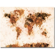 "Trademark Global Michael Tompsett ""Bronze Paint Splash World Map"" Canvas Art, 30"" x 47"""