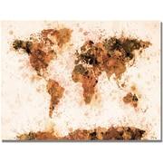"Trademark Global Michael Tompsett ""Bronze Paint Splash World Map"" Canvas Art, 22"" x 32"""