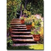 Trademark Global David Lloyd Glover Pink Faisies Wooden Steps Canvas Art, 18 x 24