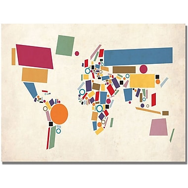 Trademark Global Michael Tompsett in.Abstract Shapes World Mapin. Canvas Art, 18in. x 24in.