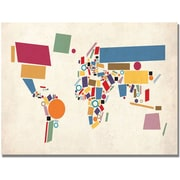 "Trademark Global Michael Tompsett ""Abstract Shapes World Map"" Canvas Art, 18"" x 24"""
