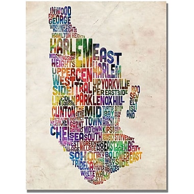 Trademark Global Michael Tompsett in.Manhatan Typography Mapin. Canvas Art, 30in. x 47in.