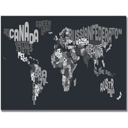 "Trademark Global Michael Tompsett ""Font World Map VII"" Canvas Art, 18"" x 24"""