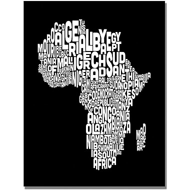 Trademark Global Michael Tompsett in.Africa Font World Mapin. Canvas Art, 30in. x 47in.