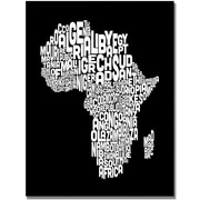 "Trademark Global Michael Tompsett ""Africa Font World Map"" Canvas Art, 18"" x 24"""