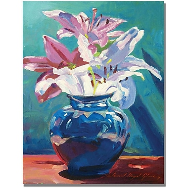 Trademark Global David Lloyd Glover in.Lilies in Bluein. Canvas Art, 24in. x 32in.