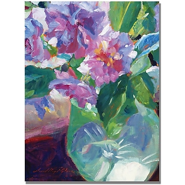 Trademark Global David Lloyd Glover in.Pink Flowers in Green Vasein. Canvas Art, 35in. x 47in.