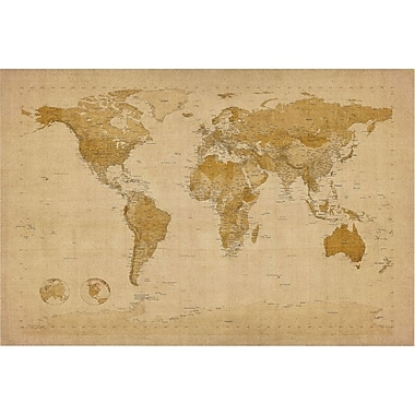 Trademark Global Michael Tompsett in.Antique World Mapin. Canvas Art, 22in. x 32in.