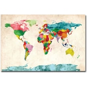 "Trademark Global Michael Tompsett ""Watercolor World Map"" Canvas Art, 16"" x 24"""