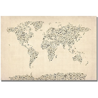 Trademark Global Michael Tompsett in.Music Note World Mapin. Canvas Art, 16in. x 24in.